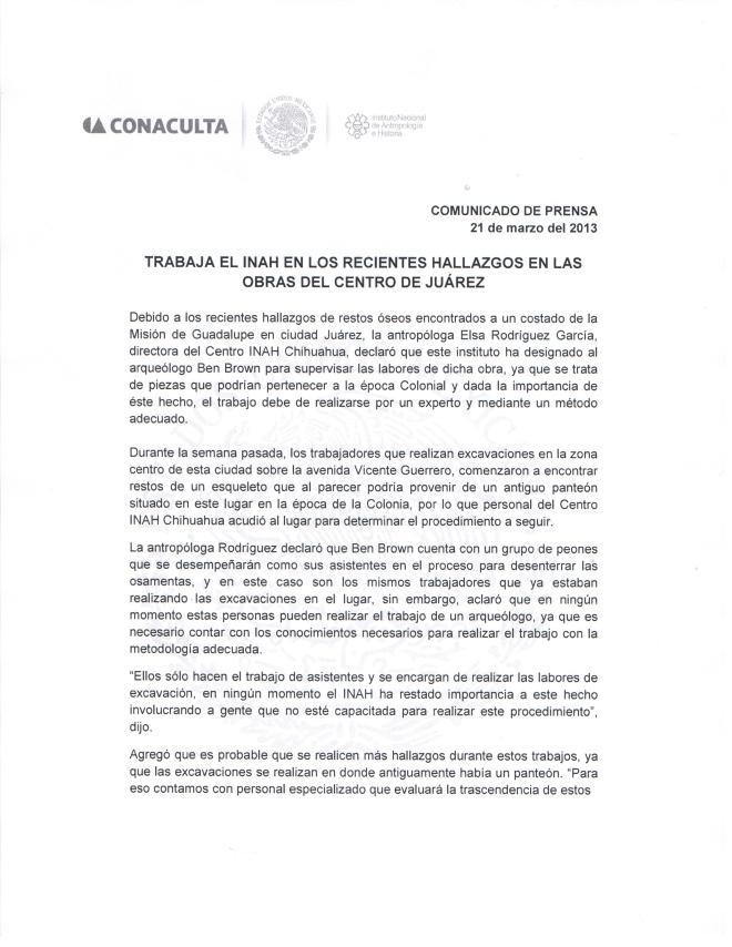 Comunicado de Prensa Juárez 1 de 2